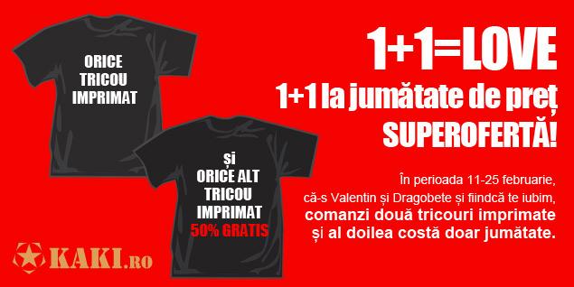 Oferta speciala Valentine's Day și Dragobete tricouri personalizate imprimate la KAKI.ro