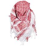 Esarfa Arab Shemagh, Alb cu Rosu